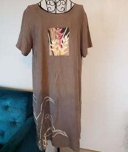 Lagan Look Linen blend Art to Wear shift dress